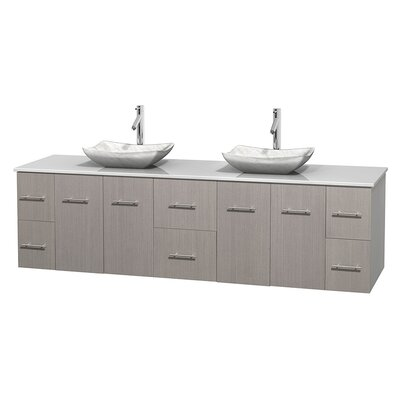 Centra 80 Double Bathroom Vanity Set Base Finish: Gray Oak, Basin Finish: Avalon White Carrera