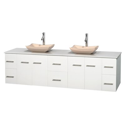 Centra 80 Double Bathroom Vanity Set Base Finish: Matte White, Basin Finish: Avalon Ivory