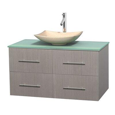 Centra 42 Single Bathroom Vanity Set Base Finish: Gray Oak, Basin Finish: Arista Ivory