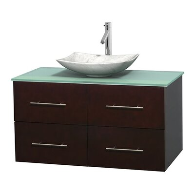Centra 42 Single Bathroom Vanity Set Basin Finish: Arista White Carrera, Base Finish: Espresso