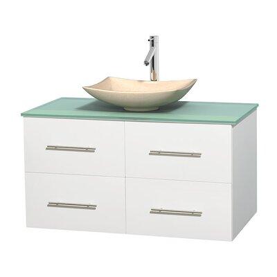 Centra 42 Single Bathroom Vanity Set Base Finish: Matte White, Basin Finish: Arista Ivory