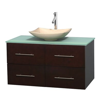 Centra 42 Single Bathroom Vanity Set Basin Finish: Arista Ivory, Base Finish: Espresso
