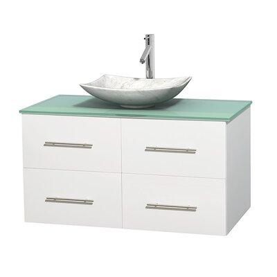 Centra 42 Single Bathroom Vanity Set Base Finish: Matte White, Basin Finish: Arista White Carrera