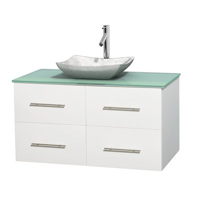Centra 42 Single Bathroom Vanity Set Base Finish: Matte White, Basin Finish: Avalon White Carrera