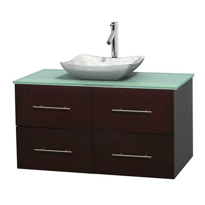Centra 42 Single Bathroom Vanity Set Basin Finish: Avalon White Carrera, Base Finish: Espresso