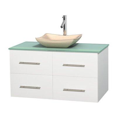 Centra 42 Single Bathroom Vanity Set Base Finish: Matte White, Basin Finish: Avalon Ivory