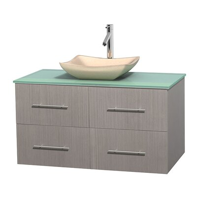 Centra 42 Single Bathroom Vanity Set Base Finish: Gray Oak, Basin Finish: Avalon Ivory