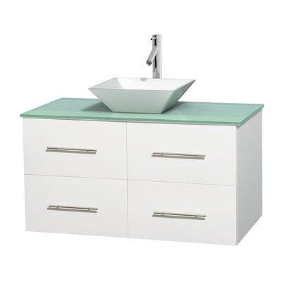 Centra 42 Single Bathroom Vanity Set Base Finish: Matte White, Basin Finish: Pyra White