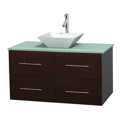 Centra 42 Single Bathroom Vanity Set Base Finish: Espresso, Basin Finish: Pyra White