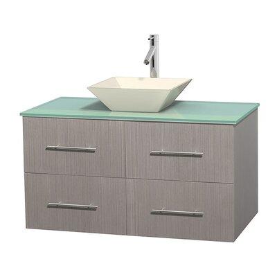 Centra 42 Single Bathroom Vanity Set Base Finish: Gray Oak, Basin Finish: Pyra Bone