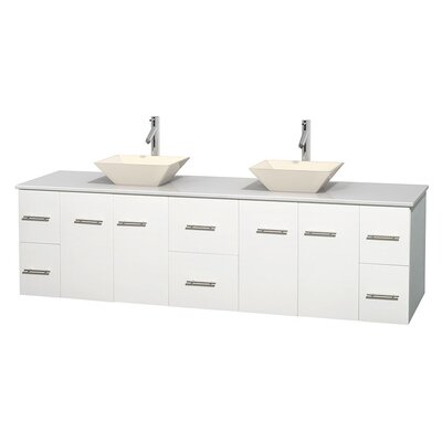 Centra 80 Double Bathroom Vanity Set Base Finish: Matte White, Basin Finish: Pyra Bone