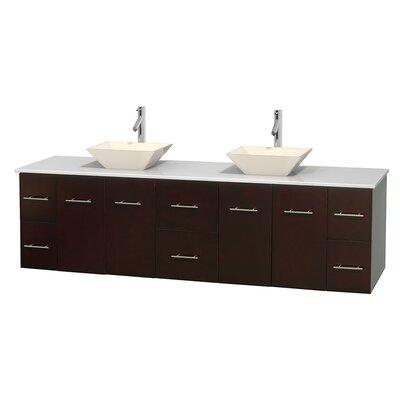 Centra 80 Double Bathroom Vanity Set Base Finish: Espresso, Basin Finish: Pyra Bone