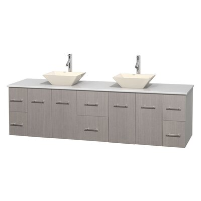 Centra 80 Double Bathroom Vanity Set Base Finish: Gray Oak, Basin Finish: Pyra Bone