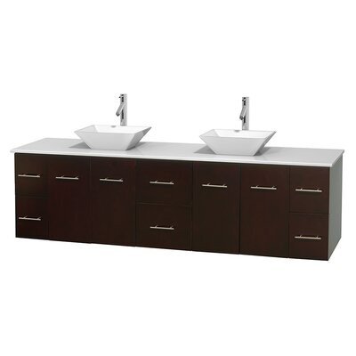 Centra 80 Double Bathroom Vanity Set Base Finish: Espresso, Basin Finish: Pyra White