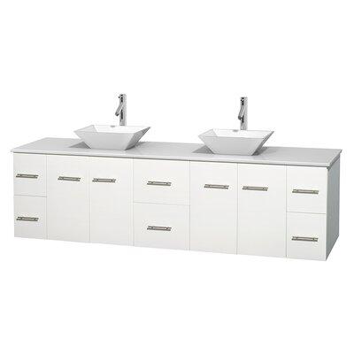 Centra 80 Double Bathroom Vanity Set Base Finish: Matte White, Basin Finish: Pyra White