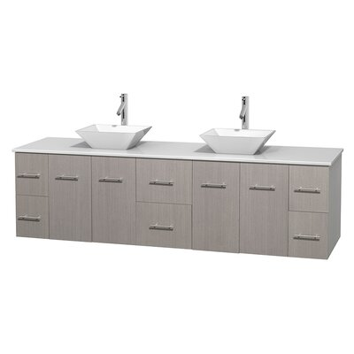 Centra 80 Double Bathroom Vanity Set Base Finish: Gray Oak, Basin Finish: Pyra White