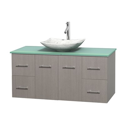 Centra 48 Single Bathroom Vanity Set Base Finish: Gray Oak, Basin Finish: Arista White Carrera