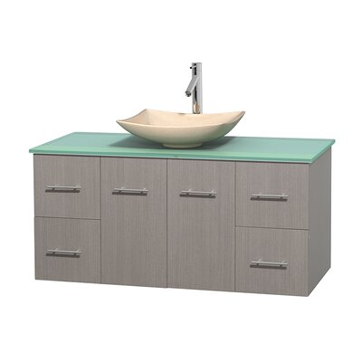 Centra 48 Single Bathroom Vanity Set Base Finish: Gray Oak, Basin Finish: Arista Ivory