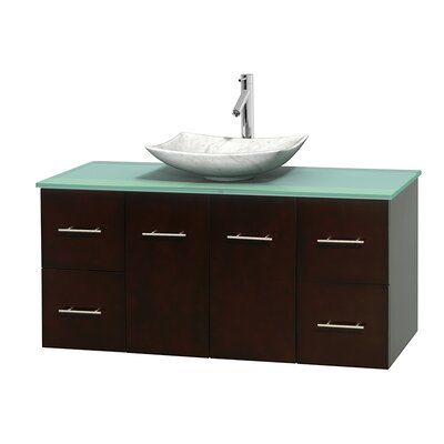Centra 48 Single Bathroom Vanity Set Base Finish: Espresso, Basin Finish: Arista White Carrera