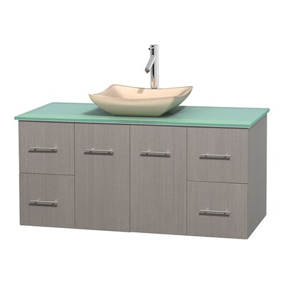 Centra 48 Single Bathroom Vanity Set Base Finish: Gray Oak, Basin Finish: Avalon Ivory
