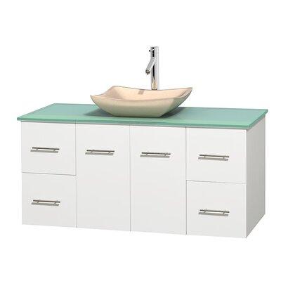 Centra 48 Single Bathroom Vanity Set Base Finish: Matte White, Basin Finish: Avalon Ivory