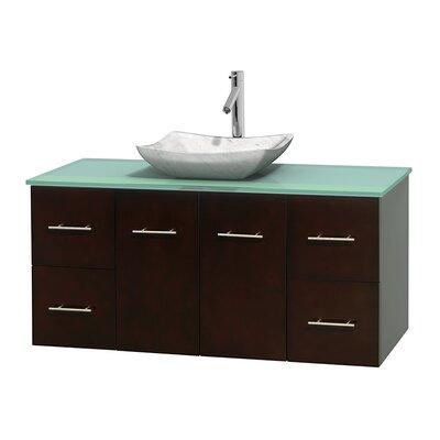 Centra 48 Single Bathroom Vanity Set Base Finish: Espresso, Basin Finish: Avalon White Carrera