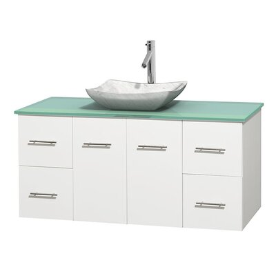 Centra 48 Single Bathroom Vanity Set Base Finish: Matte White, Basin Finish: Avalon White Carrera