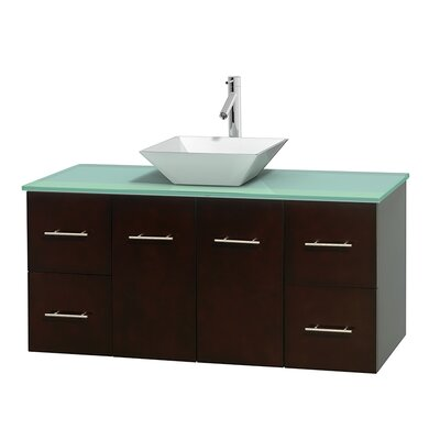 Centra 48 Single Bathroom Vanity Set Basin Finish: Pyra White, Base Finish: Espresso