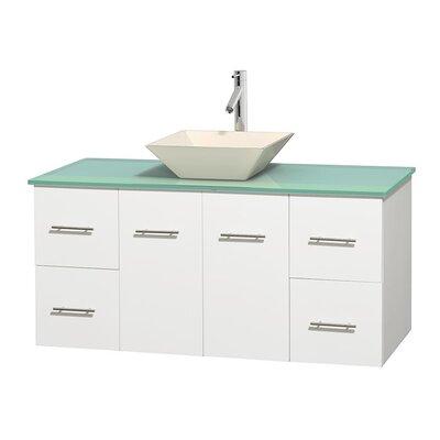 Centra 48 Single Bathroom Vanity Set Base Finish: Matte White, Basin Finish: Pyra Bone