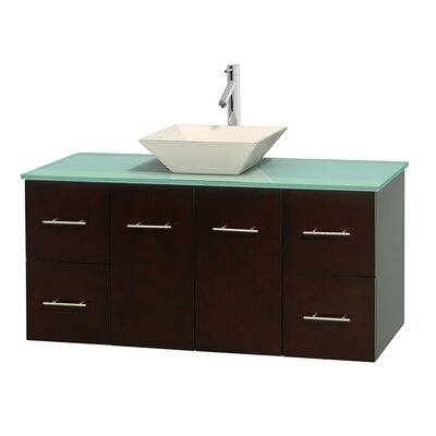 Centra 48 Single Bathroom Vanity Set Base Finish: Espresso, Basin Finish: Pyra Bone