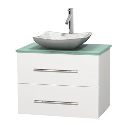 Centra 30 Single Bathroom Vanity Base Finish: Matte White, Basin Finish: Avalon White Carrera