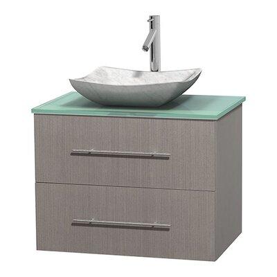 Centra 30 Single Bathroom Vanity Basin Finish: Avalon White Carrera, Base Finish: Gray Oak