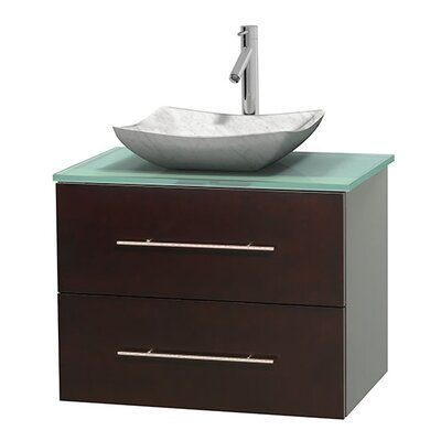 Centra 30 Single Bathroom Vanity Base Finish: Espresso, Basin Finish: Avalon White Carrera