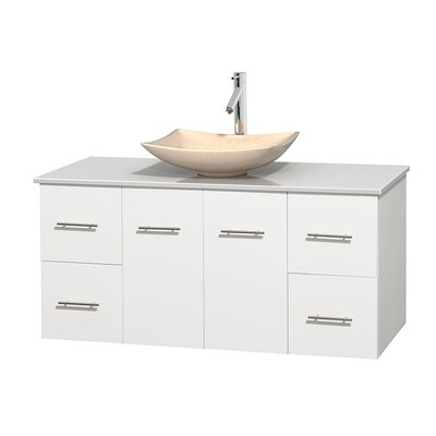 Centra 48 Single Bathroom Vanity Set Base Finish: Matte White, Basin Finish: Arista Ivory