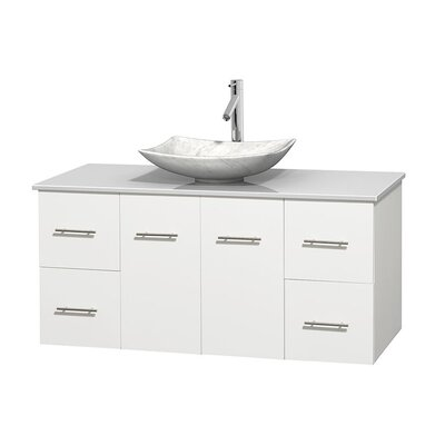 Centra 48 Single Bathroom Vanity Set Base Finish: Matte White, Basin Finish: Arista White Carrera