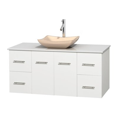 Centra 48 Single Bathroom Vanity Set Base Finish: Matte White, Basin Finish: Avalon Ivory