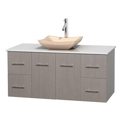 Centra 48 Single Bathroom Vanity Set Base Finish: Gray Oak, Basin Finish: Avalon Ivory