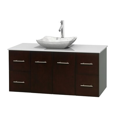 Centra 48 Single Bathroom Vanity Set Base Finish: Espresso, Basin Finish: Avalon White Carrera