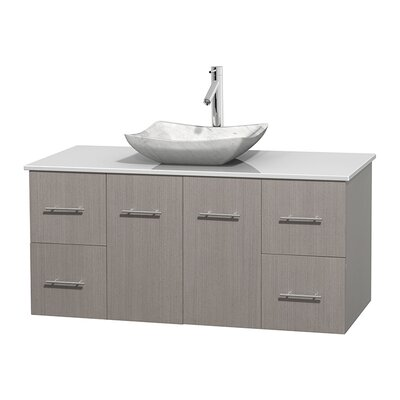 Centra 48 Single Bathroom Vanity Set Base Finish: Gray Oak, Basin Finish: Avalon White Carrera