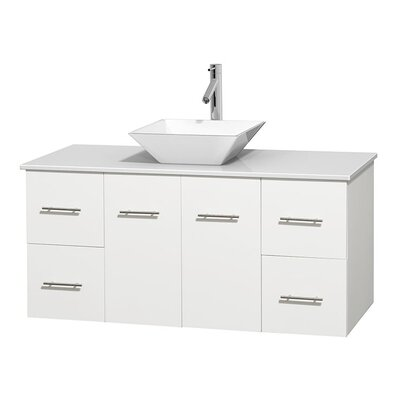 Centra 48 Single Bathroom Vanity Set Base Finish: Matte White, Basin Finish: Pyra White