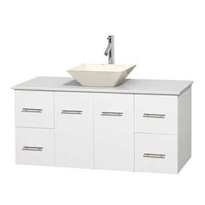 Centra 48 Single Bathroom Vanity Set Basin Finish: Pyra Bone, Base Finish: Matte White