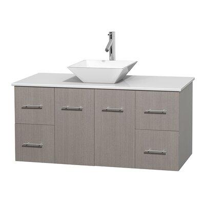 Centra 48 Single Bathroom Vanity Set Base Finish: Gray Oak, Basin Finish: Pyra White