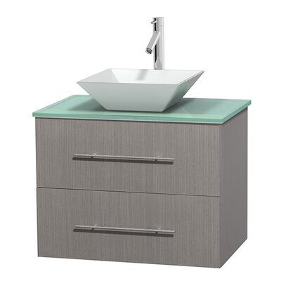 Centra 30 Single Bathroom Vanity Base Finish: Gray Oak, Basin Finish: Pyra White