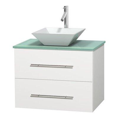 Centra 30 Single Bathroom Vanity Base Finish: Matte White, Basin Finish: Pyra White