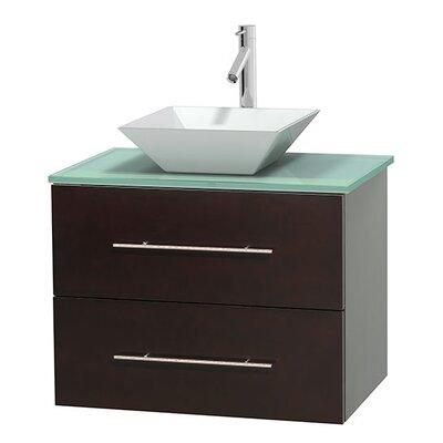 Centra 30 Single Bathroom Vanity Base Finish: Espresso, Basin Finish: Pyra White