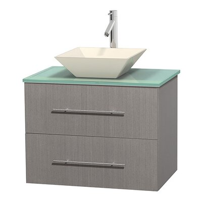 Centra 30 Single Bathroom Vanity Base Finish: Gray Oak, Basin Finish: Pyra Bone