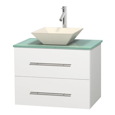 Centra 30 Single Bathroom Vanity Base Finish: Matte White, Basin Finish: Pyra Bone