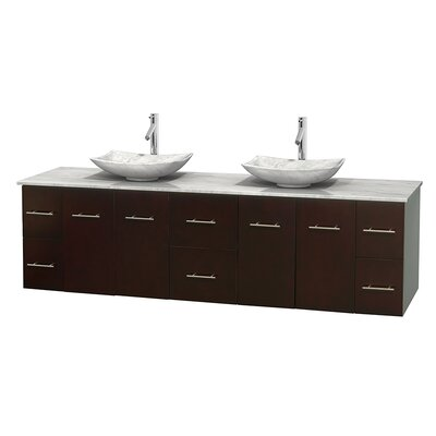 Centra 80 Double Bathroom Vanity Set Base Finish: Matte White, Top Finish: Ivory, Basin Finish: White Carrera Marble