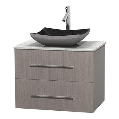 Centra 30 Single Bathroom Vanity Set Top Finish: White Carrera, Base Finish: Gray Oak