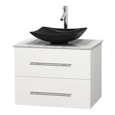 Centra 30 Single Bathroom Vanity Set Base Finish: Matte White, Top Finish: White Carrera
